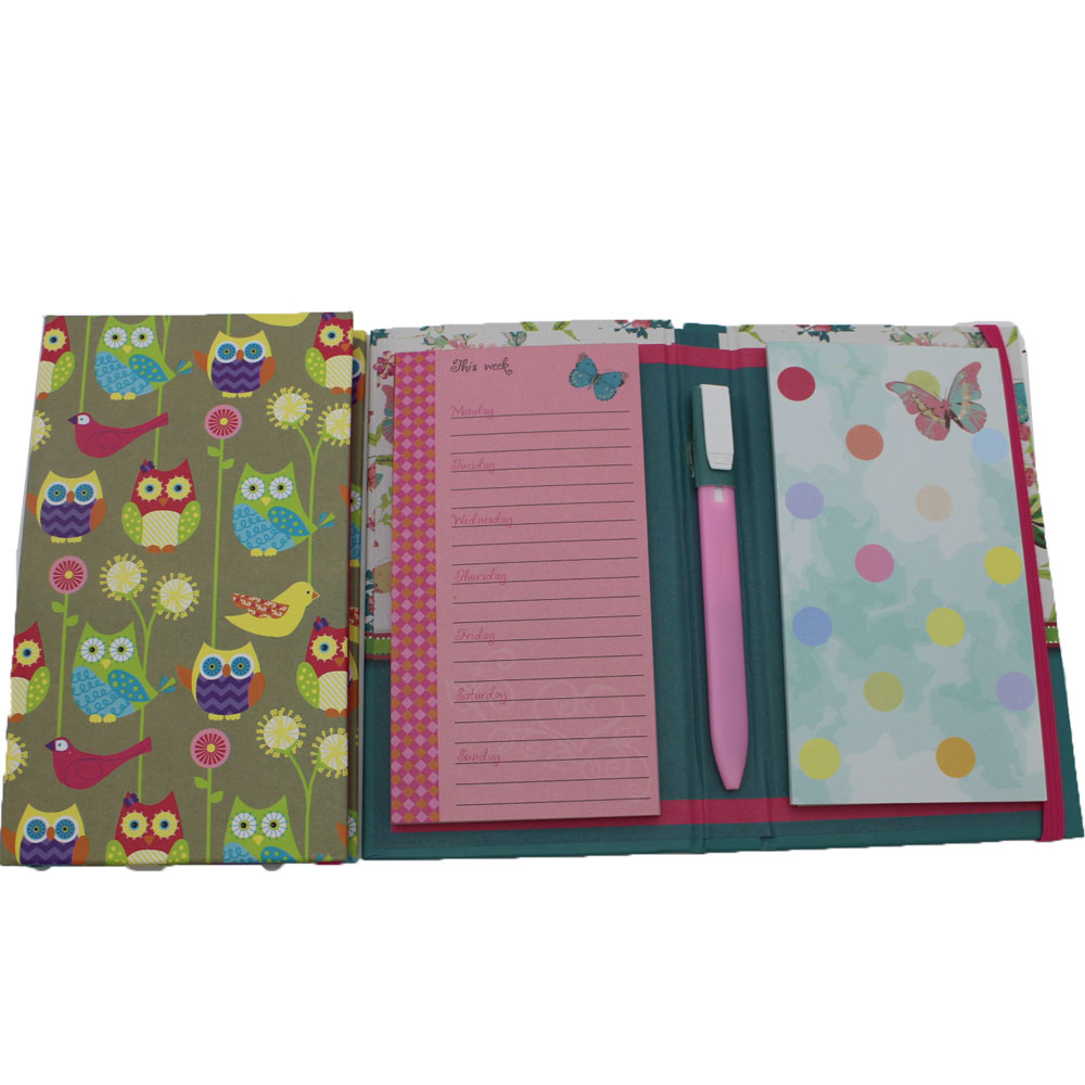 Novelty full color print glued notepad with elastic band and ball pen