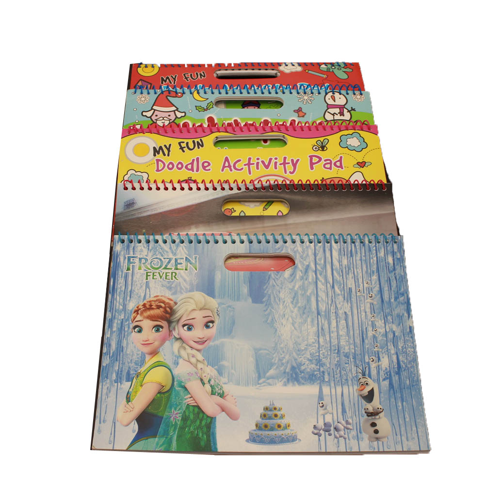 Funny activity pad ,sprial drawing book with hot stamp printing and glitters