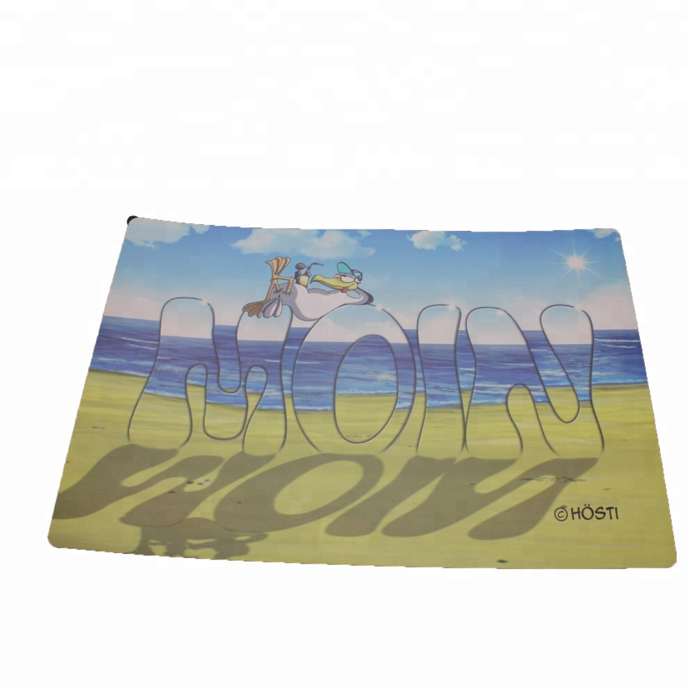 Washable plastic placemat for dining room kitchen table