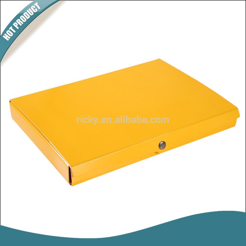 Custom file folder document holder with button