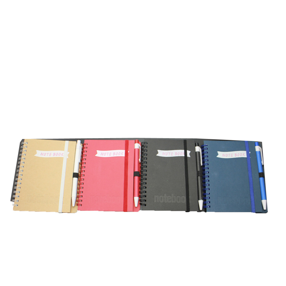 Short Lead Time for Low Moq Mini Office Statioery Set - NB-R037 Kraft paper cover cheap school exercise notebook with ball pen – Ricky Stationery